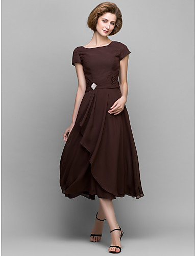 cheap Free Shipping-A-Line Mother of the Bride Dress Scoop Neck Tea Length Chiffon Short Sleeve with Crystals Side Draping 2020