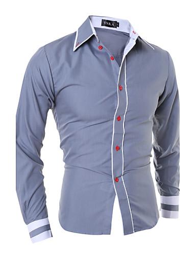 levne Pánské košile-Pánské - Barevné bloky Práce Business Větší velikosti Košile, Základní Široký límeček Štíhlý černá & červená Černá / Dlouhý rukáv / Jaro / Podzim