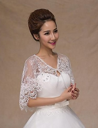 cheap Wedding Accessories-Sleeveless Lace Wedding / Party Evening / Casual Wedding  Wraps With Rhinestone Capelets