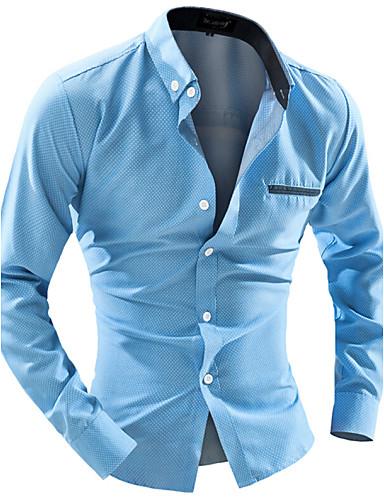 levne Pánské košile-Pánské - Jednobarevné Práce Business Košile Límeček s knoflíkem Štíhlý Bílá / Dlouhý rukáv
