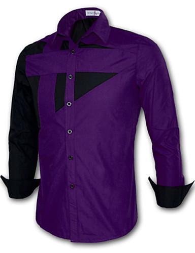 levne Pánské košile-Pánské - Patchwork Větší velikosti Košile Bavlna Štíhlý Fialová / Dlouhý rukáv / Jaro / Podzim