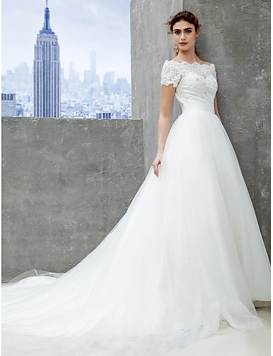 A-vonalú Katedrális uszály Csipke Tüll Esküvői ruha val vel Csipke által  LAN TING BRIDE® 3026367 2019 –  249.99 5284afffb6