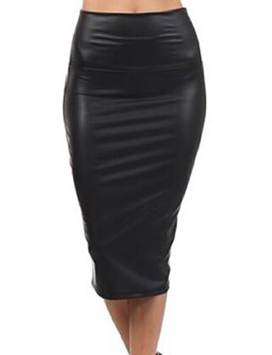 preiswerte Hosen & Röcke aus Leder-Damen Grundlegend Alltag PU Bodycon Röcke - Solide Winter Schwarz Rot M L XL / Schlank