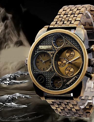 preiswerte Oulm®-Oulm Herrn Uhr Armbanduhr Quartz Edelstahl Schwarz / Bronze / Rotgold Duale Zeitzonen Analog Luxus Schwarz Bronze Rotgold / Zwei jahr / Zwei jahr