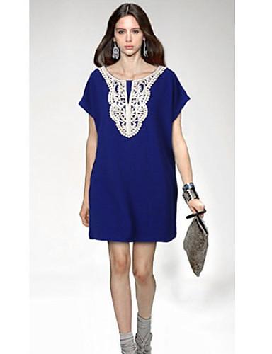93e9915cd0 [$10.49] Women's Lace Blue/Black Plus Size Dresses , Casual/Party Round  Short Sleeve