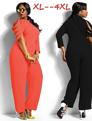 129d0a1cde3 Women s Solid White Black Plus Size Jumpsuit