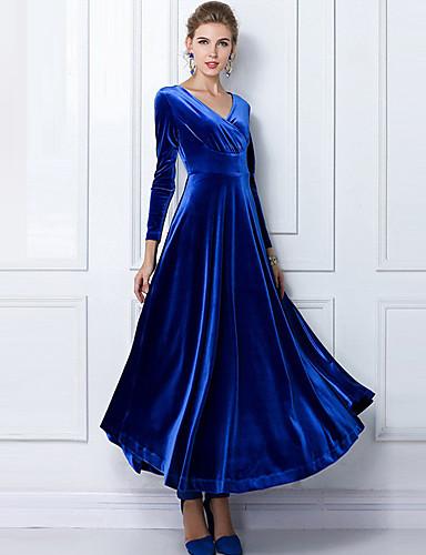 preiswerte Kleider-Damen Übergrössen Party Baumwolle Samt Swing Kleid Solide Maxi V-Ausschnitt Blau / Schlank