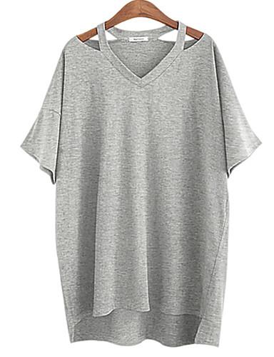 billige T-skjorter til damer-Bomull Flaggermusermer Løstsittende V-hals Store størrelser T-skjorte Dame - Ensfarget, Delt Hvit / Sommer / Utskjæring
