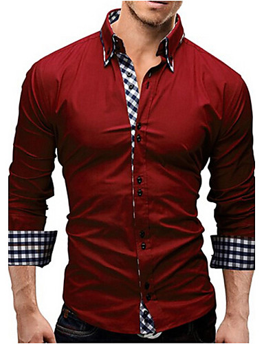cheap Dress Shirts-Men's Shirt Solid Colored Long Sleeve Slim Tops Business Spread Collar White Black Red / Spring / Fall / Work