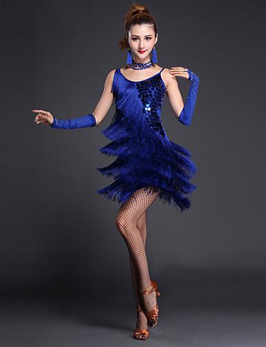 levne Shall We®-Latinské tance Šaty Dámské Výkon Polyester / Lycra Flitry / Vrstvy / Rozparek vpředu Krátké rukávy / Bez rukávů Vysoký Sexy holky Šaty / Rukavice / Neckwear