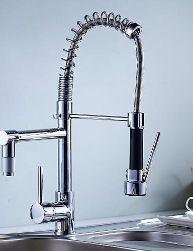 preiswerte Armatur mit Handbrause-Armatur für die Küche - Ein Loch Chrom Pull-out / Pull-down deckenmontiert Moderne Kitchen Taps / Einhand Ein Loch