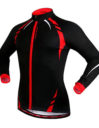 povoljno Odjeća za vožnju biciklom-WOSAWE Muškarci Žene Biciklistička jakna Bicikl Jakna Biciklistička majica Majice Ugrijati Vjetronepropusnost Podstava od flisa Sportski Runo Zima Crveno / crno / Crna / žuta Brdski biciklizam