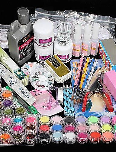 cheap Beauty & Hair Super Sale-42 pcs Acrylic Nail Kits Professional DIY Acrylic Liquid Glitter Powder Nail Art Kit for Finger Nail kit