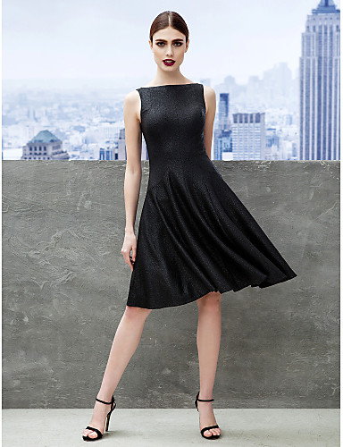 4295d04ba5e A-Line   Fit   Flare Boat Neck   Bateau Neck Knee Length Jersey Little  Black Dress Cocktail Party Dress with Pleats by TS Couture® 3953629 2019 –   99.99