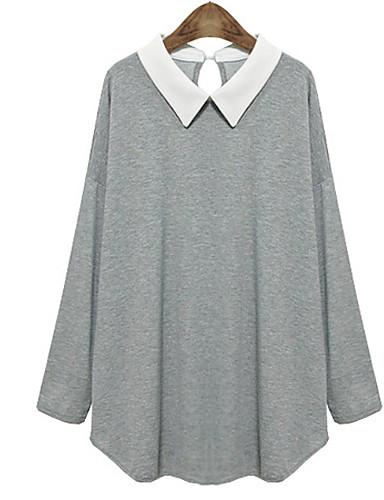 povoljno Ženske majice u plus veličini-Žene Dnevno Veći konfekcijski brojevi Bluza Color block Izrezati Dugih rukava Tops Ležerne prilike Kragna košulje Crn Dark Blue