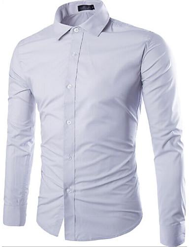 voordelige Herenoverhemden-Heren Overhemd Effen Lichtblauw / Lange mouw