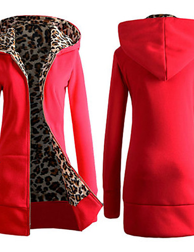 billige Dametopper-Dame Lang Hoodie Jacket Ensfarget / Leopard / Vinter