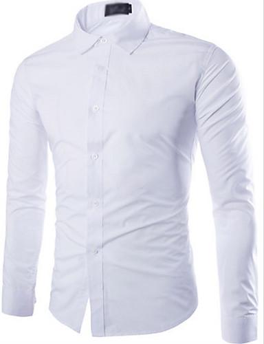 preiswerte Formelle Hemden-Herrn Solide Hemd Schwarz / Langarm