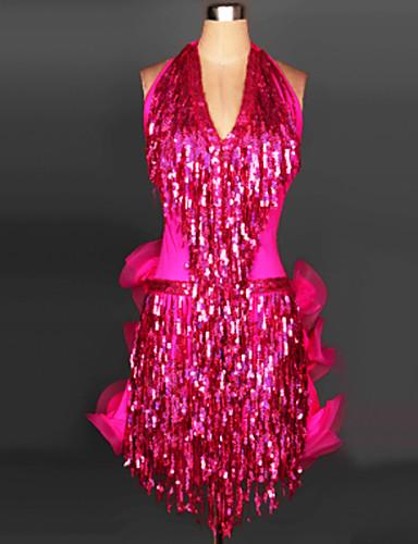levne Shall We®-Latinské tance Šaty a sukně Dámské Trénink / Výkon Spandex Flitry / Sklady / Třásně Bez rukávů Šaty / Samba
