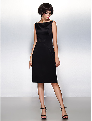 cheap Cocktail Dresses-Back To School Sheath / Column Little Black Dress Cocktail Party Dress Bateau Neck Boat Neck Sleeveless Knee Length Satin with Pleats 2020 Hoco Dress