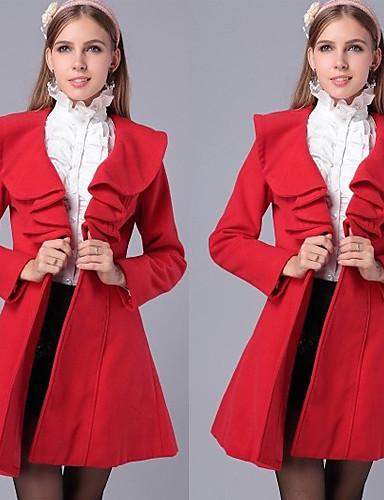 levne Dámské kabáty a trenčkoty-Sexy / Ležérní / Práce Límec na míru - Dlouhé rukávy - ŽENY - Coats & Jackets (Polyester / Římský úplet)