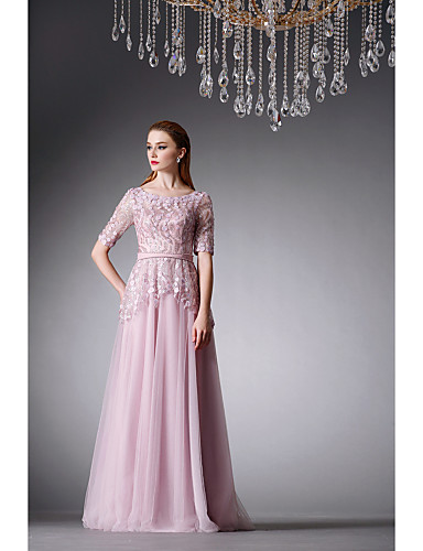 cheap Evening Dresses-A-Line Formal Evening Dress Jewel Neck Floor Length Tulle with Appliques 2020