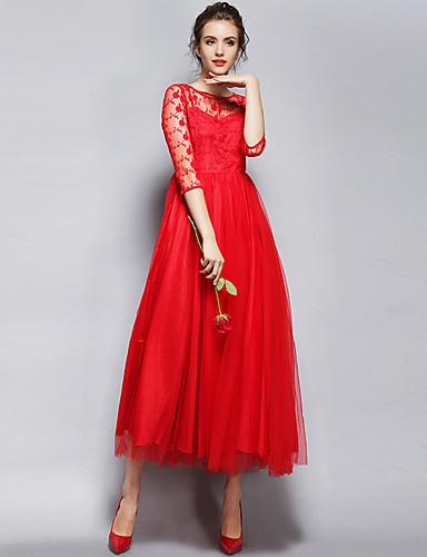 levne Sexy šaty-Dámské Párty Sofistikované Swing Šaty - Jednobarevné Maxi Úzký výstřih