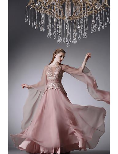 cheap Evening Dresses-A-Line Formal Evening Dress Jewel Neck Floor Length Chiffon with Beading Appliques 2020