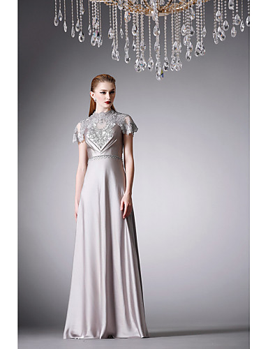 cheap Evening Dresses-A-Line Formal Evening Dress High Neck Floor Length Satin with Beading Embroidery 2020