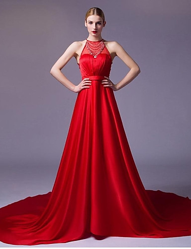 4ec9d4eb8 سهرة رسمية فستان - أحمر / فضي خط-A بدون شريط ذيل شابل ساتين 4639374 2019 –  $129.99