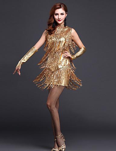 זול הלבשה לריקודים לטיניים-ריקוד לטיני שמלה נצנצים פרנזים בגדי ריקוד נשים הצגה ללא שרוולים גבוה פוליאסטר / ביצוע