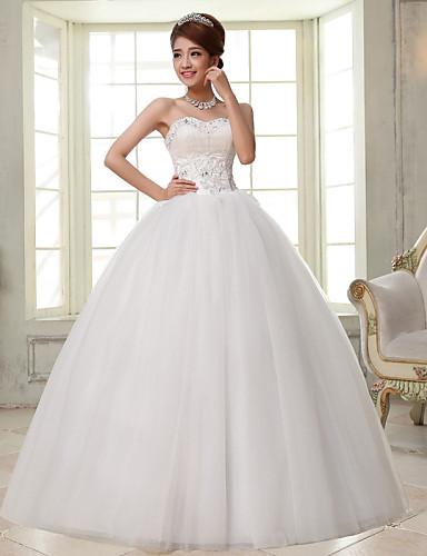 9605dc706 Salón Escote Corazón Hasta el Suelo Encaje   Satén   Tul Vestidos de novia  hechos a medida con Cuentas por 4569741 2019 –  79.99