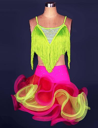 levne Shall We®-Latinské tance Úbory Dámské Výkon Polyester / Spandex Třásně Vrchní deska / Sukně / Samba