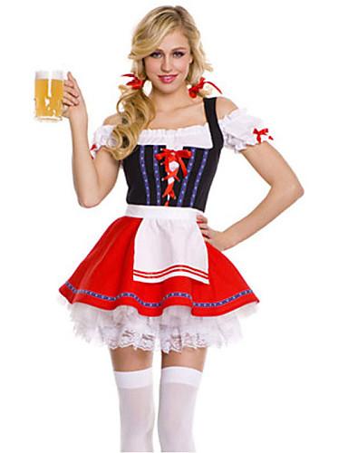 povoljno Kostimi za Noć vještica i maškare-Oktoberfest Dirndl Trachtenkleider Žene Haljina Pojas bavarski Kostim Crvena / Spandex