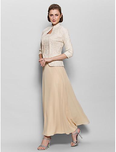 voordelige Wrap Dresses-A-lijn Vierkante hals Tot de enkel Chiffon / Corded Lace Bruidsmoederjurken met Kant door LAN TING BRIDE®
