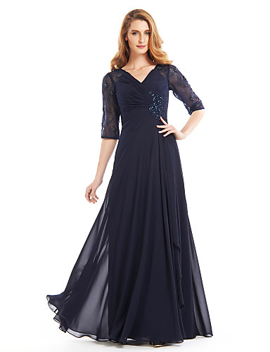 cheap Clearance-A-Line Mother of the Bride Dress Vintage Inspired V Neck Floor Length Chiffon Half Sleeve with Criss Cross Beading 2020