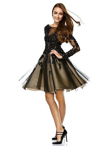 57f2d695e Corte en A Escote Barco   Bateau Neck Hasta la Rodilla Tul See Through  Fiesta de baile Vestido con Cuentas   Apliques por TS Couture® 4242957 2019  –  119.99