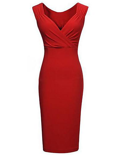 levne Pracovní šaty-Dámské Větší velikosti Párty Bodycon Šaty - Jednobarevné Délka ke kolenům Hluboké V / Štíhlý