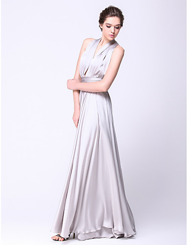 cheap Special Occasion Dresses-A-Line Elegant Convertible Dress Open Back Prom Wedding Party Dress Halter Neck Sleeveless Floor Length Satin Chiffon with Pleats Ruched 2020