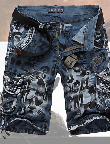 preiswerte Hol Dir Den Look für den Sommer-Herrn Grundlegend / Militär Alltag Ausgehen Wochenende Jeans / Kurze Hosen Hose Druck Grün Blau Dark Gray 29 30 31
