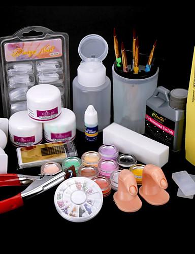 cheap Beauty & Hair Super Sale-24 pcs Acrylic Nail Kits DIY for Beginner Punk Nail Art Tool UV Gel Nail Art Kit for Finger