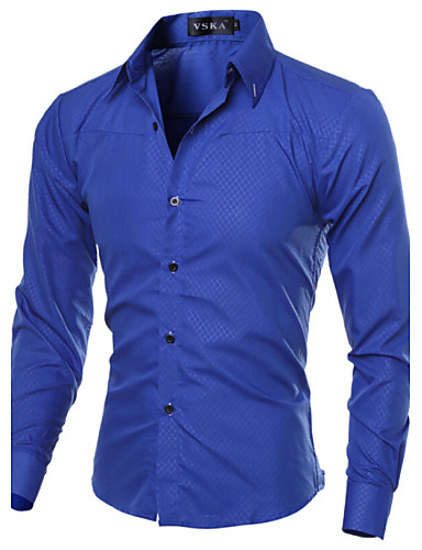 cheap 11.11 - Print Men's Shirts Best Sale-Men's Daily Work Business Plus Size Slim Shirt - Solid Colored Basic Spread Collar Navy Blue / Long Sleeve / Spring / Fall