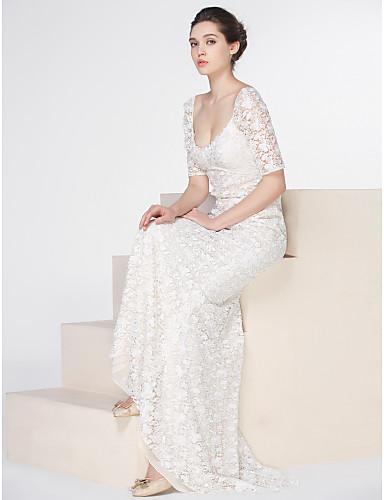 Trumpet / sjöjungfru Scoop Neck Svepsläp Spets Halvlång ärm Blommig spets Bröllopsklänningar tillverkade med Spets / Knapp 2020