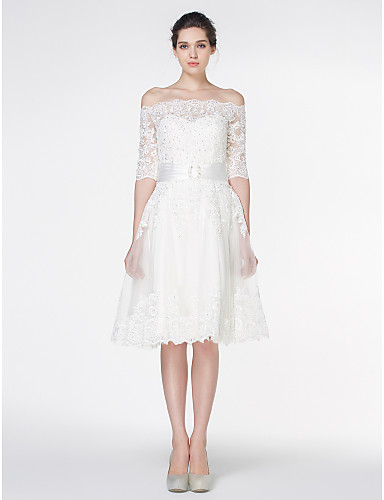 cheap Wedding Dresses-A-Line Wedding Dresses Off Shoulder Knee Length Lace 3/4 Length Sleeve Formal Romantic Little White Dress Illusion Sleeve with Lace 2020