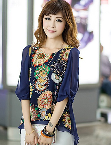 billige Dametopper-Store størrelser Bluse Dame - Blomstret, Blomst Beige