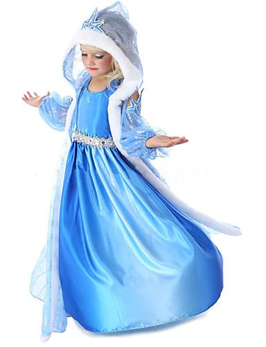 povoljno Maske i kostimi-Princeza Fairytale Elsa Cosplay Nošnje Djevojčice Filmski Cosplay Szőrme gallér Plava Kaput Haljina Rukavice Halloween New Year Šifon