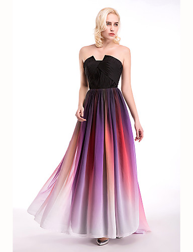 e99151732bc Cocktail Party   Formal Evening Dress - Multi-color Ball Gown Notched Floor- length Chiffon 4763098 2019 –  79.99