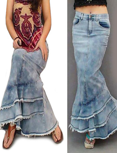 f5e165838f Vintage Cotton Maxi Skirts Low Rise / Spring / Summer / Fall / Winter  1333707 2019 – $37.00