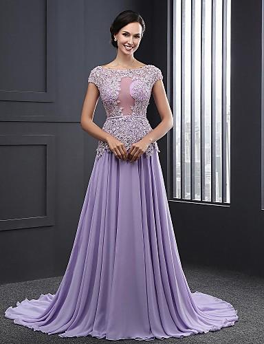 Plesové šaty Klenot Dlouhá vlečka Šifón Formální večer Šaty s Aplikace  podle Rose Field 4784630 2019 –  119.99 b49530e238