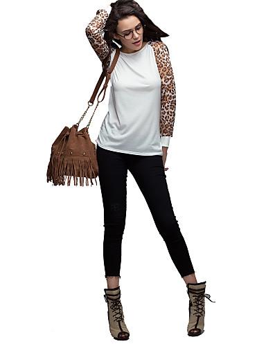 billige Dametopper-Store størrelser Bluse Dame - Leopard Hvit